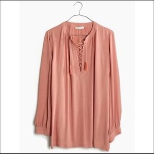 Madewell   Lace Up Peasant Blouse